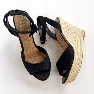 Gianna Bini • wedge ankle strap black sandals